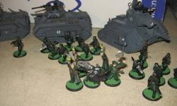 FS: Warhammer 40k Imperial Guard Up for sale, or TRADE should you have something of value to me... Steel Legion (3 squads), Commissars (3), Officers (3), Sgts. Demolisher, Leman Russ, Chimera (2) +1 unpainted Imperial Guard Codex, + Short Story Carrying