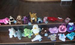 Huge Webkinz collection that has been very well kept and clean.  Comes from a smoke and bug free home. 13 pets w/ tags $60 Lot or $6 each 50 pets w/ out tags $100 Lot or $3 each Accessories and clothing $20 Take it all for $120.00 firm...