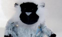 New Webkinz Grey Langur with Sealed Code. This old world monkey features a black face surrounded by long decorative white fur; and an all grey body