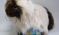 """New Webkinz plush Himalayan kitten with Sealed Code. Plush brown face with matching ears,feet and bushy tail; blue eyes and black cloth whiskers. Body is a light mocha colour. Measures approx. 9"""" long from nose to hind foot."""