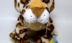 """Webkinz Leopard has a golden body with tawny rosettes under """"hairy"""" plush strands. New with Sealed Code, HM031, by Ganz."""