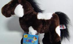 "Webkinz plush Pinto pony with Sealed Code. Brown body with white patches; a black mane, tail and hooves. Approx 8"" to the top of the head, 10"" long from nose to hind foot."