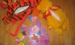 Tigger and Winnie the pooh character backpacks.  Excellent condition, one Piglet shape puzzle, plastic shaped pieces fit into a plastic base. Smoke and pet free home. No texting please