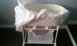 A lovely addition to any nursery or perfect for keeping your newborn sleeping safely in your room. It has storage underneath and is in perfect condition. The actual bassinet is able to be disconnected which makes for easy to transport and comes with the