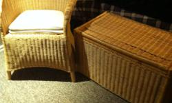 Wicker chair and two chests (one shown) from IKEA. Excellent condition. Chests were used as safe toy boxes with light lids.