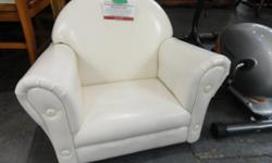 """Details: #679~ Children's' faux leather armchair - white/off white w: 24"""" d: 17 """" h: 20"""" WIN Price: $ 39.95 - as is - (all our items are marked """"as is"""" as they have all being donated gently used*) The items posted at USEDVICTORIA are displayed at our 785"""
