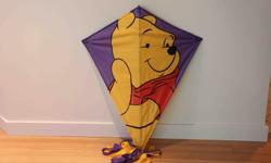 "39"" x 33"" with 150"" long purple and gold tails. Includes string and handle. Excellent condition."