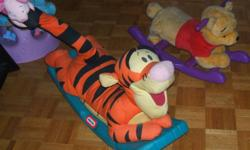 I am selling both the Winnie the Pooh and Tigger rocking horse.  My daughter is to big for them now.  The Winnie the Pooh sings by pressing the ears.   Asking 10.00 for each.   Please see my other adds.