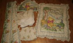 Brand new 5 piece crib bedding, skirt, sheet, bumper, head board piece and thick blanket took it out of the package to vacuum pack it to make room. It is still crisp none smoking and pet free home $40 paid over $100