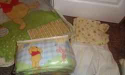 Gently Used.  Includes crib skirt, crib mattress cover, bumper pad and Blanket.  Great for a boy or girl.  Comes from a smoke free home and has no stains.  Like new.