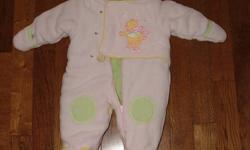 For Sale: Pink Fleece snowsuit for a baby girl aged 6-12 months. This item is in excellent condition. Nice and warm for baby. Asking $12.00. Contact Laura at 519 680 0835. Please check out my other ads.