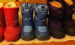 3 pairs of winter boots. All 3 pairs are size 6. Pink--weather spirits, great shape $5.00 Blue--cougar, little dirty but could be cleaned up $5.00 Purple--kamik kids, great shape $10.00 This ad was posted with the Kijiji Classifieds app.