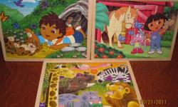 Selling three wood based puzzles in like-new condition.  One is a Melissa and Doug and the other two are Nickelodeon.  Come from smoke-free home. Purchased collectively for around $25.  Contact me today, they won't last!
