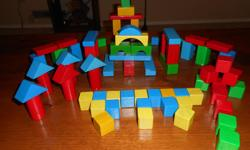 75 solid wooden blocks of various shapes and colours. A set blocks @ Toys R Us ..$26.99