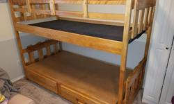 "Birch bunk bed. Can be set up as two twin size beds or as bunk. Drawers in bottom bunk. Safety side on top bunk is removable. Overall nice shape. Measures 80""L x 40""W x 62""T Accepts mattress up to 37""W x77""L Handle missing from one drawer. Ladder is"