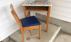 """wooden Child's desk with chair, best fitted for i would say an 8 - 12 year old, has been spruced up with new naugahyde upholstery on the chair, and a classic vintage school room design on the top, measures 25 X 19 X 30"""" high ... $65.00 for the set"""