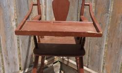 Sturdy, working, brown highchair in great condition. Small chip on the tray - $10