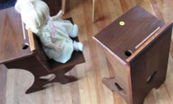wood doll chair shaped like the desks of years back.. nice size for dolls. as shown in pictures  have at least two of these desks, nice for displaying dolls for bears.   one view shows a baby so beautiful doll sitting in the desk..  price is for one desk