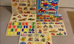 Daycare closing - need them gone! Wooden puzzles large and small. Large numbers puzzle is missing a #6 and the shaped blocks puzzle is missing two blocks. Large $5 OBO Small $3 OBO