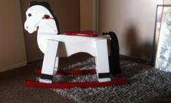 Very cool older wooden rocking horse, could use a little touch up of paint on the seat, other than that, it is very sturdy and very cute. FYI If you inquire, I may not be able to get back to you until later this afternoon. You can call or text me at:
