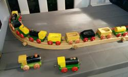 This is a beautiful large wooden train set, made in Holland, and not compatible with Brio or Thomas the Train etc. This would be ideal for older children (home schoolers perhaps?), rather than toddlers, since it requires a bit of dexterity to put it