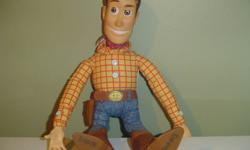"""Here is a soft plush Woody toy, from Disney's Toy Story movies.  He's been played with, and does not come with hat.  Stands 18"""" tall.  In good condition.    Thank you for looking :) Please see my other items listed"""