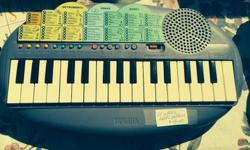 Battery operated mini piano. Great to listen to and play along and make music.