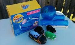 Lot of ZhuZhu Pets featuring Spiral Slide & Ramp (with box), exercise wheel, hamcycle with side car and 3 pets. From a smoke free home. Make an offer!