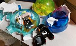 Good used condition 3 Zhu Zhu pets, all work with their Hampton Hive home and accessories as seen in pic. Plus one Playskool treehouse, slide, door opens, pink/purple platform goes round and round when chimney pushed. Great imagination toy to be used with