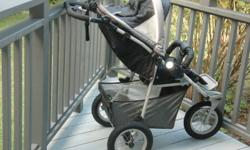 Great stroller for Muskoka terrain!   Stroller comes with : -rain cover -bug/sun cover -warm bunting bag   Handle adjusts and child can be facing forward or backward