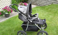 Black reversible Zooper 4-wheel stroller with air-filled tires and accessories in great condition (hardly used) $140.00 obo.  250 828-0498 Kamloops